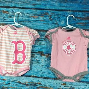 LOT OF 2 Boston Red Sox Infant Bodysuit PINK WHITE